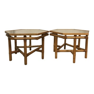 Vintage Rattan Hexagonal Side Tables - A Pair