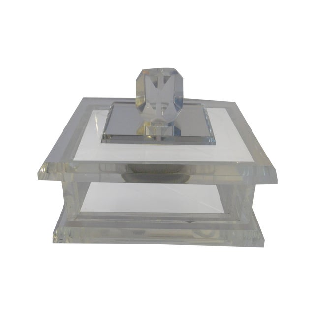 Handcrafted Art-Deco Clear Lucite Jewelry Box - Image 1 of 8
