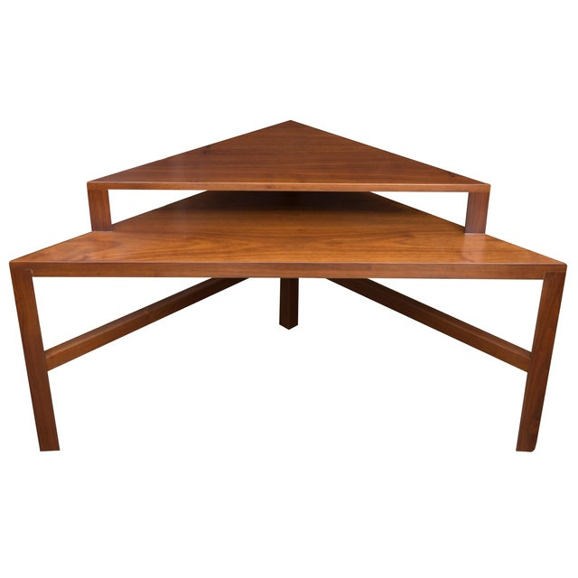 Mid Century Two Tiered Triangle End Table Chairish
