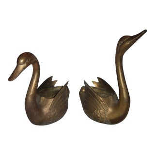 Decorative Brass Swan Planters or Bowls - A Pair