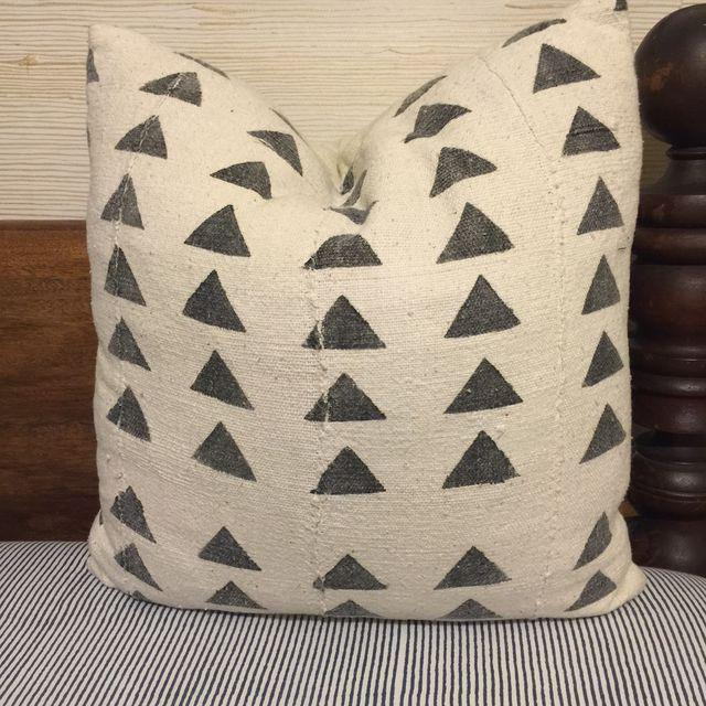 Mali Black And White Triangle Pattern Mudcloth Pillow