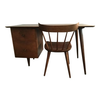 1950s Paul McCobb Maple & Brass Drawer Desk