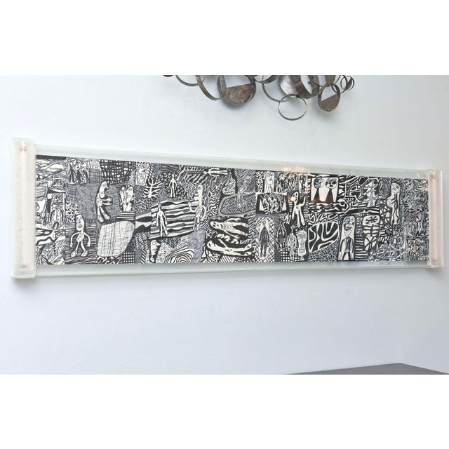 "Rare Jean Dubuffet Monochrome Silkscreen Mural on Paper Scroll, ""Parcours"" - Image 2 of 11"