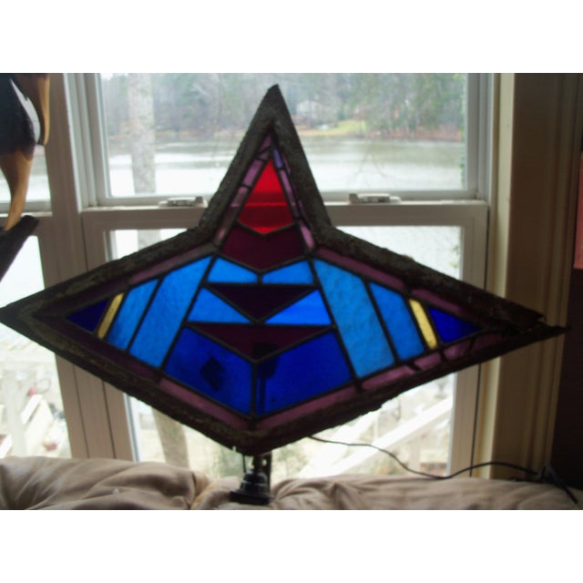 Antique Leaded Art Glass Window Sconces - A Pair - Image 2 of 10