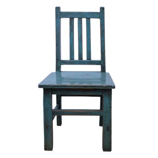 Miniature Asian Style Rustic Handmade Blue Wood Chair