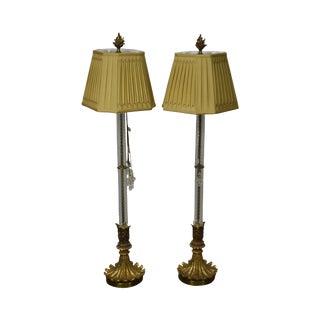 John Richard Pair of Tall Glass Column Gilt Base Table Lamps