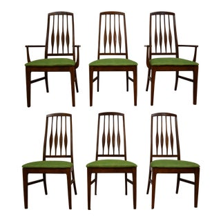 Green and Walnut Color Dining Chairs - Set of 6