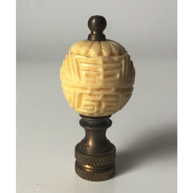 Image of Vintage Carved Faux Ivory Lamp Finial