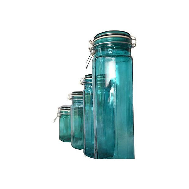 Image of European Turquoise Glass Canisters - Set of 4