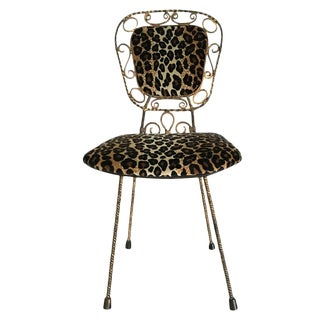 1950s Gilded Iron Accent Chair