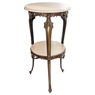 Italian Bronze & Marble Side Table
