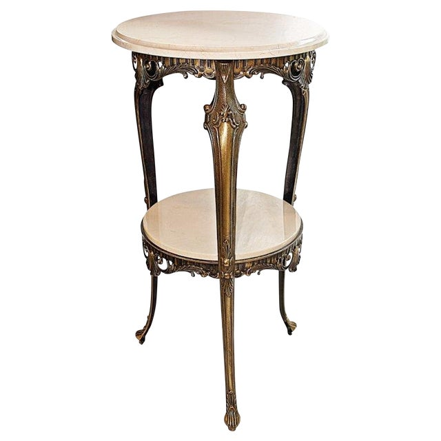 Image of Italian Bronze & Marble Side Table