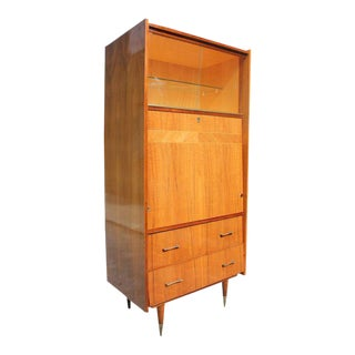 Monumental French Art Deco Exotic Walnut Bar / Credenza Drop Down Front Circa 1940s