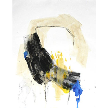 Black, Yellow & Blue Abstract Painting - Image 1 of 2