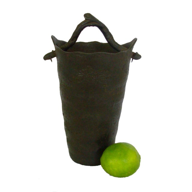 Vintage Wrought Iron Vase with Branch Handle - Image 2 of 6