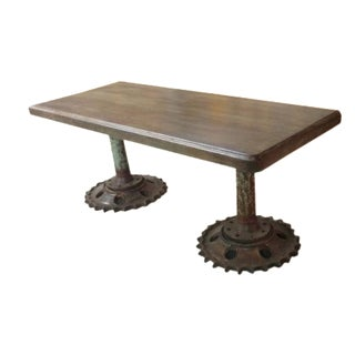 Reclaimed Butcher Block Pedestal Base Table