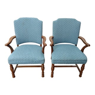 Upholstered Walnut Arm Chairs - Pair