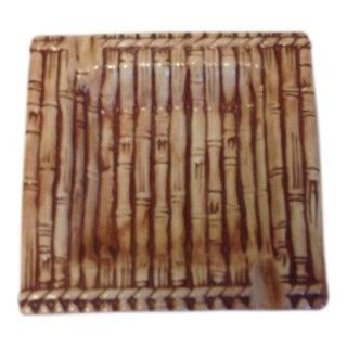 Vintage Beige Ceramic Bamboo Ashtray