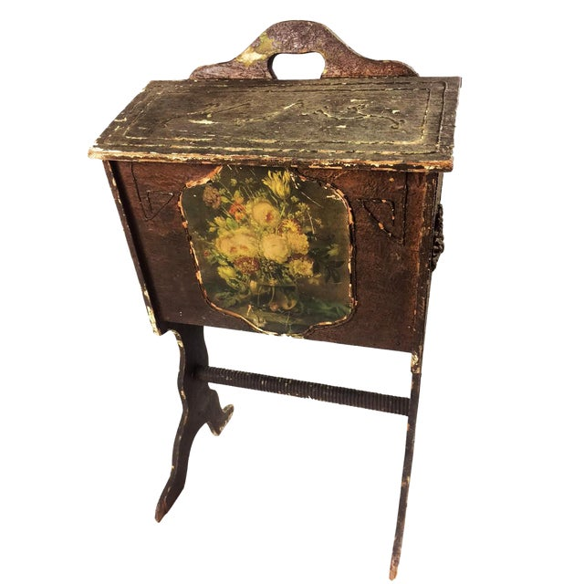 Antique Victorian Wooden Standing Sewing Box - Image 1 of 6