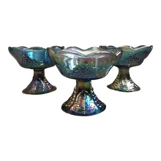 Vintage Blue Carnival Glass Harvest Grape Candle Holders - Set of 3