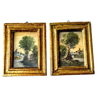 Italian Watercolor Prints With Gilt Frames - Pair