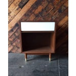 Image of Mid-Century Walnut & White Lacquer Nightstand