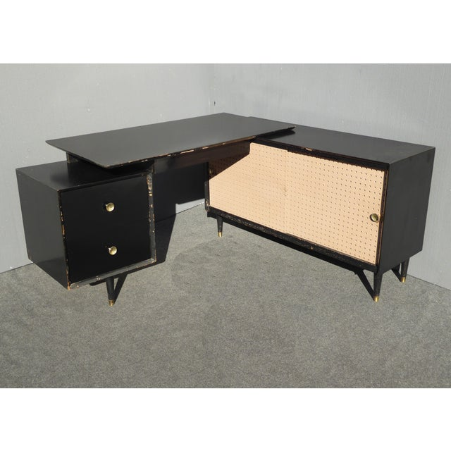 mid century modern black l shaped writing desk chairish. Black Bedroom Furniture Sets. Home Design Ideas