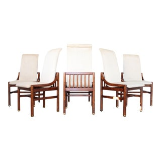 Henredon Walnut Cage Frame Dining Chairs - Set of 6