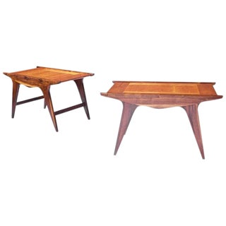 Pair of 'Tavolinetto' End Tables by Angelo Montaperto in Walnut and Cherry, 2017