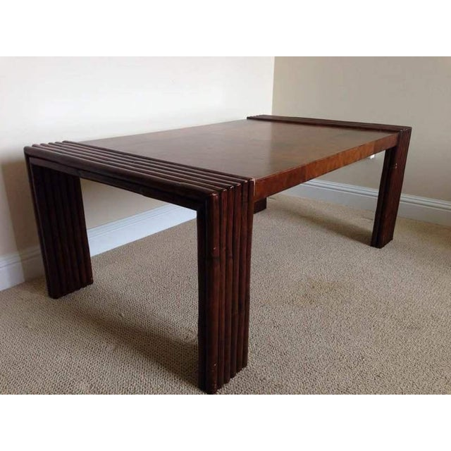Vintage Carved Mahogany And Laminate Faux Veneer Coffee Table Chairish