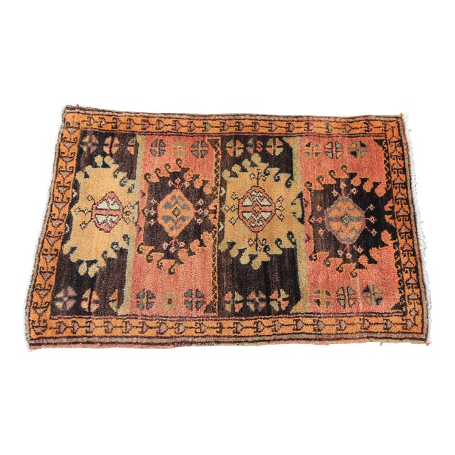 Vintage Turkish Oushak Tribal Hand Knotted Rug- 2′2″ × 3′5″ - Image 1 of 6