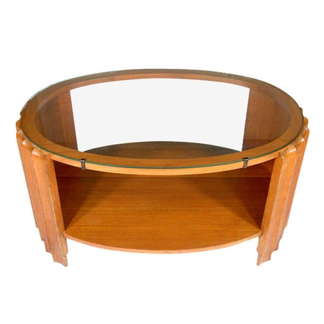 Paul Frankl Attributed Art Deco Oval Coffee Table - Image 1 of 3