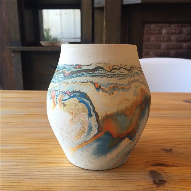 Vintage Blue and Orange Nedmadji Pottery Vase - Image 2 of 11