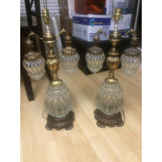 Vintage Brass & Crystal Lamps - Pair - Image 7 of 11