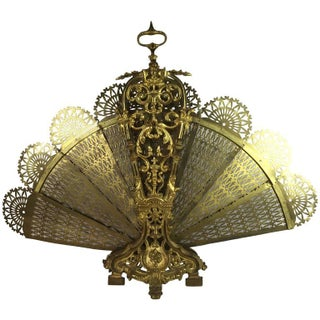 Gilt Bronze Fan Motif Fire Screen