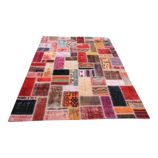 Turkish Vintage Overdyed Patchwork Oushak Rug - 6′1″ × 9′11″