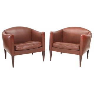 Pair of Illum Wikkelso Leather Lounge Chairs