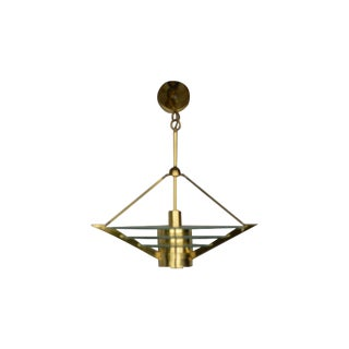 Art Deco Revival Tiered Brass & Glass Chandelier