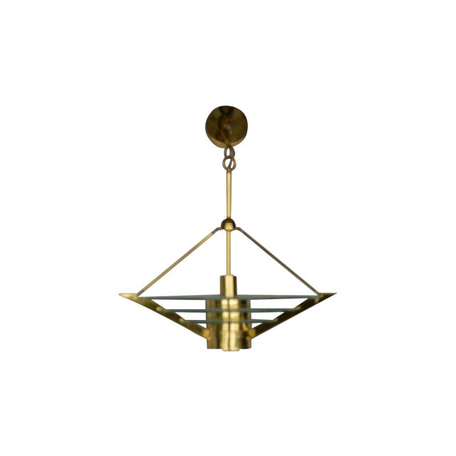 Image of Art Deco Revival Tiered Brass & Glass Chandelier