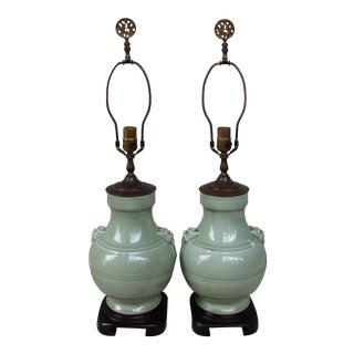 Vintage Celadon Vase Lamps - A Pair