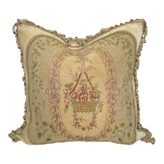 Antique Floral Needlepoint Petitpoint Tapestry Pillow