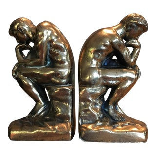 Rodin's the Thinker Cast Brass Bookends - A Pair