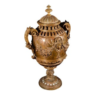 A Finely Cast Large 19th Century French Bronze Potpourri Urn