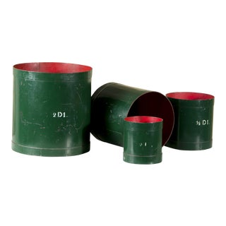 Set of Graphic Four Green and Red Vintage Belgian Measures, circa 1930