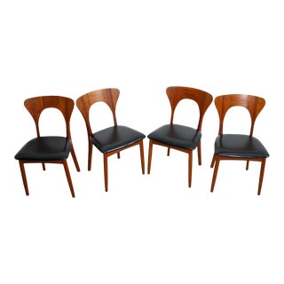 "The Elusive ""Peter"" Chair Koefoeds Hornslet Danish Teak Dining Chairs - Set of 4"