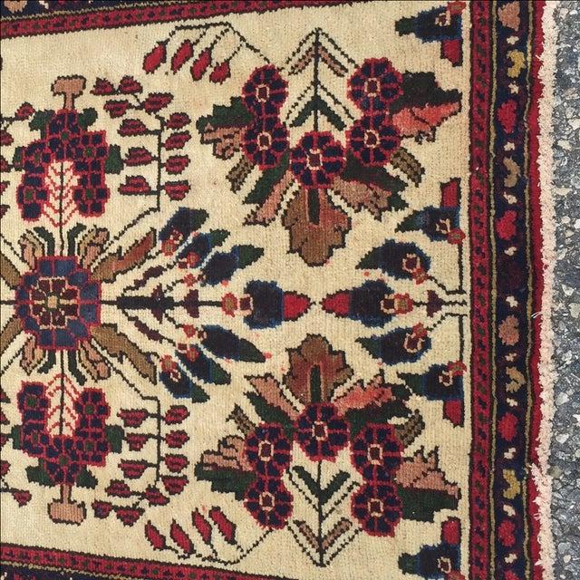 Cream And Maroon Vintage Hamadan Persian Rug