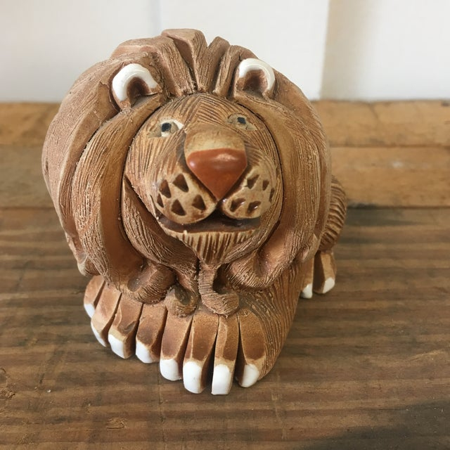 Mid-Century Clay Lion Sculpture - Image 8 of 10