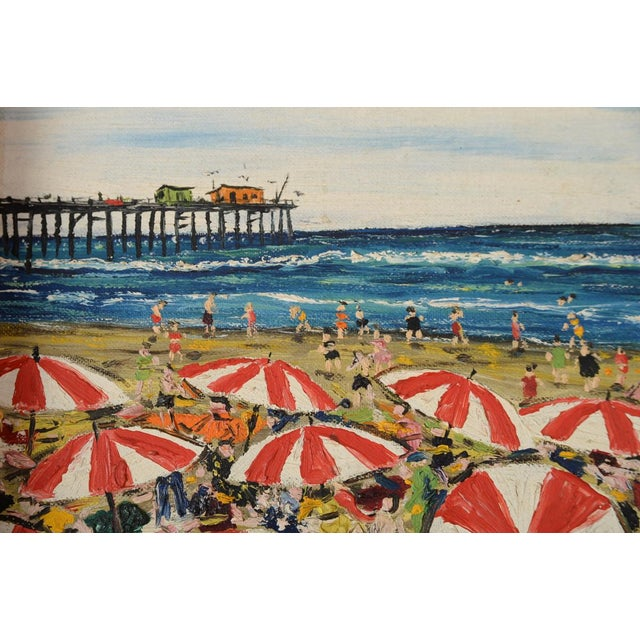 Santa Monica Pier Beach Scene 1950s Oil Painting - Image 4 of 10