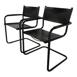 Mid-Century Modern Mart Stam S-34 Black Leather Cantilevered Chairs - A Pair