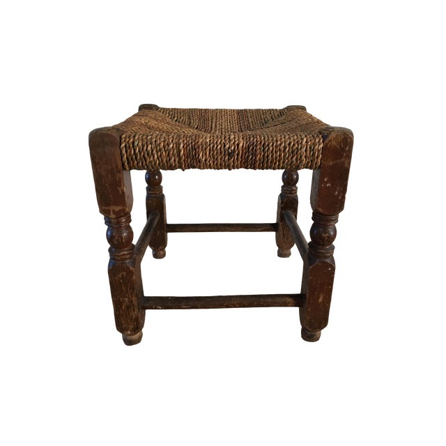 Rustic Rush Woven Small Foot Stool - Image 1 of 6